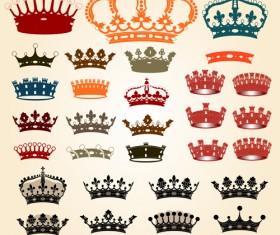 Different royal crown colored vectors