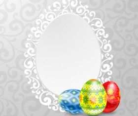 Easter egg and lace frame vector material
