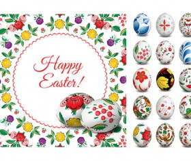 Easter egg with floral art vector material 01