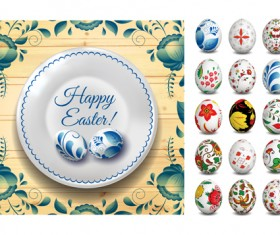 Easter egg with floral art vector material 02