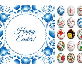 Easter egg with floral art vector material 03