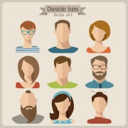 Flat style character icons vector material 01