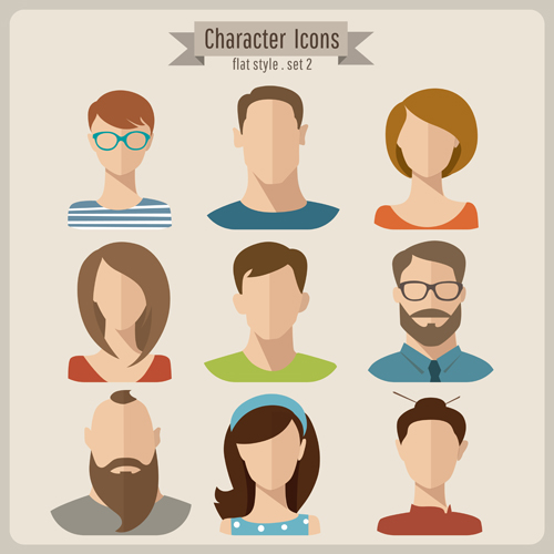 Character Design Using Illustrator : Flat style character icons vector material people