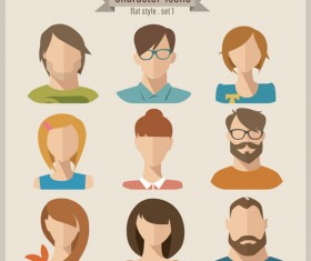 Flat style character icons vector material 02