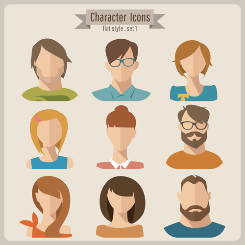 Character Design Icon : Flat style character icons vector material over