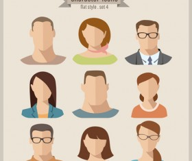 Flat style character icons vector material 03