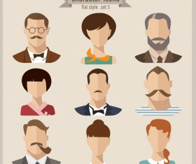 Flat style character icons vector material 04