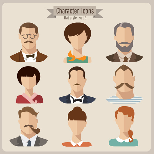 Flat Design Character Download : Flat style character icons vector material over