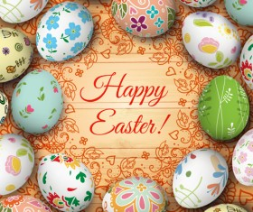 Floral easter egg background vector material 04