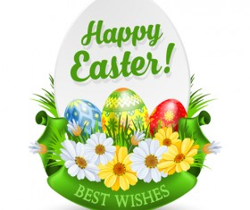 Flower with egg easter labels vector