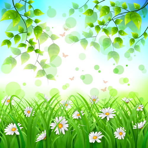 Spring Green Leaves And Flowers Background With Plants: Flower With Green Leaves Spring Background Vector Free
