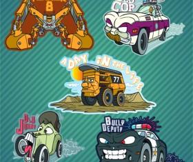 Funny cartoon transport elements vector 01