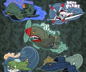 Funny cartoon transport elements vector 02