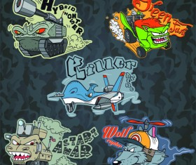Funny cartoon transport elements vector 03