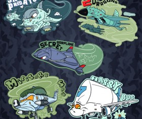 Funny cartoon transport elements vector 04