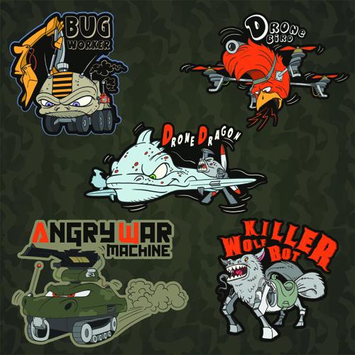 Funny cartoon transport elements vector 05