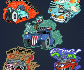 Funny cartoon transport elements vector 06