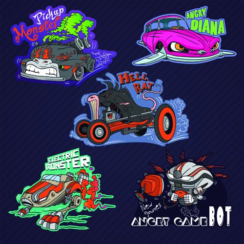 Funny cartoon transport elements vector 07