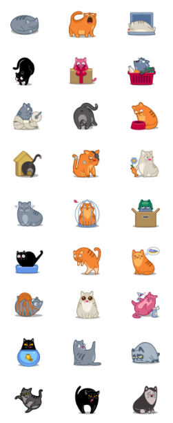 Funny cat icons material set