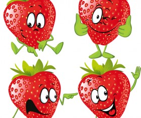 Funny strawberry cartoon characters vector