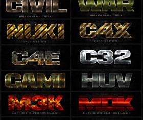 Game text effects psd styles set