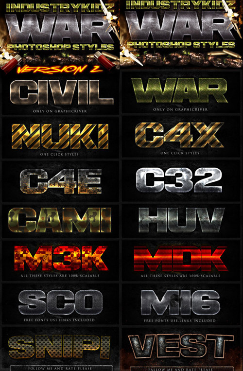 Game text effects psd styles set free download