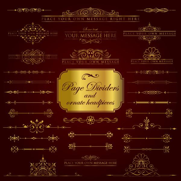 Golden borders luxury psd material