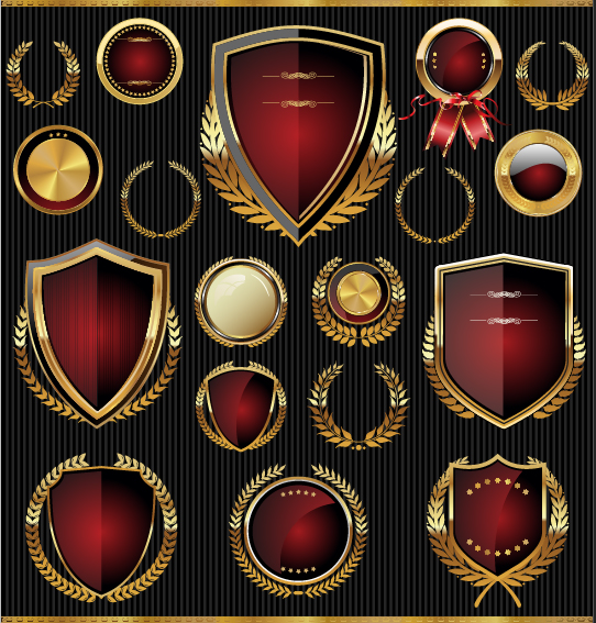 Golden shields with laurels and medals vector 01