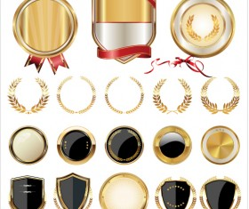 Golden shields with laurels and medals vector 02