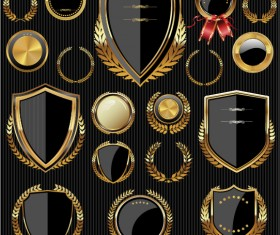 Golden shields with laurels and medals vector 03
