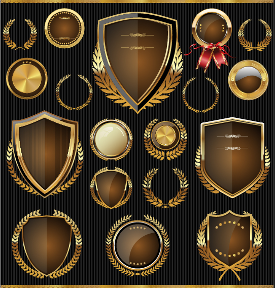 Golden shields with laurels and medals vector 04