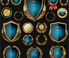 Golden shields with laurels and medals vector 05