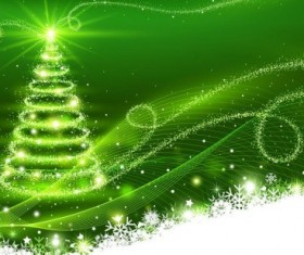Green background with dream christmas tree vector