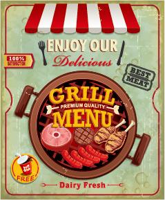 Grunge vintage styles food poster vector 09