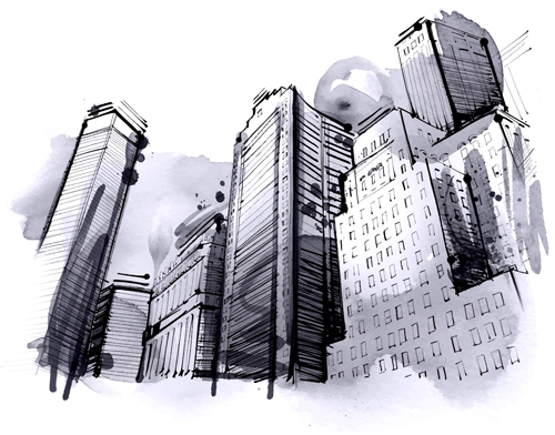 hand drawn city outline vector set 03