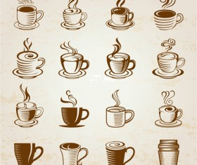 Hand drawn coffee cup icons vector
