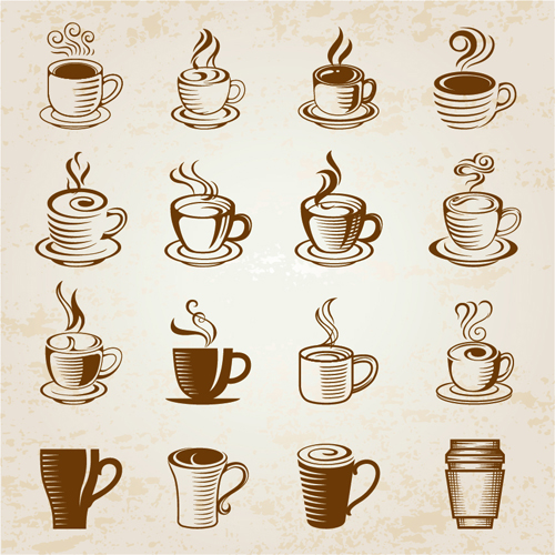 Hand Drawn Coffee Cup Icons Vector Free Download