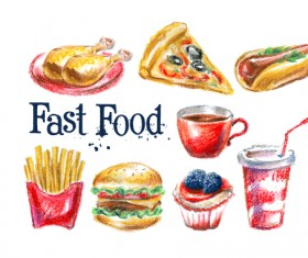 Hand drawn fast food design vectors