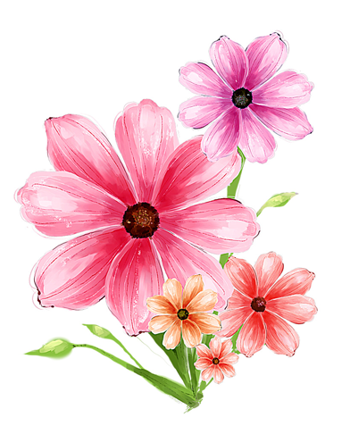 Hand drawn flower pink psd graphic
