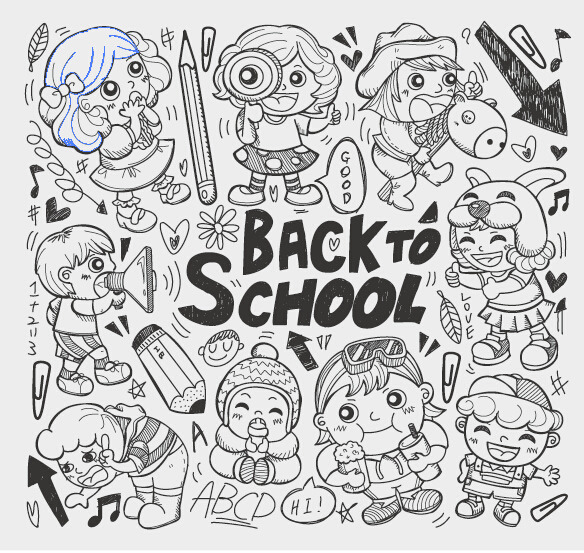 Hand Drawn Kids With School Elements Vector Free Download