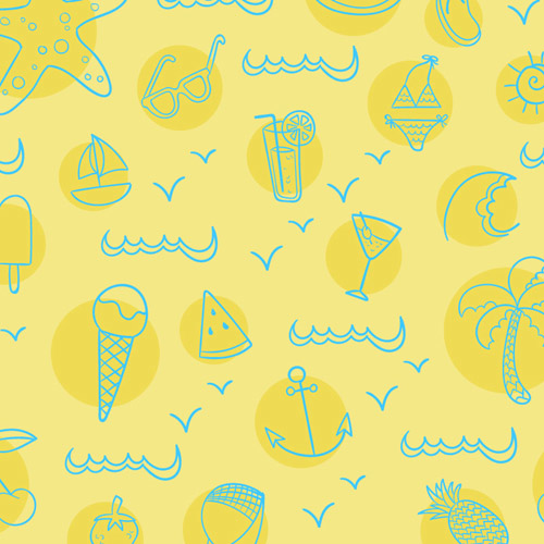 Hand drawn summer elements pattern vector
