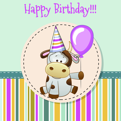 Happy Birthday Baby Greeting Cards Vector 04 Free Download