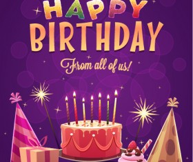 Happy birthday creative background vector 03