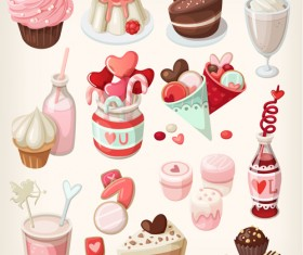 Ice cream and cake vectors material