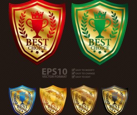 Medals shield laurel wreath vector labels vector 01