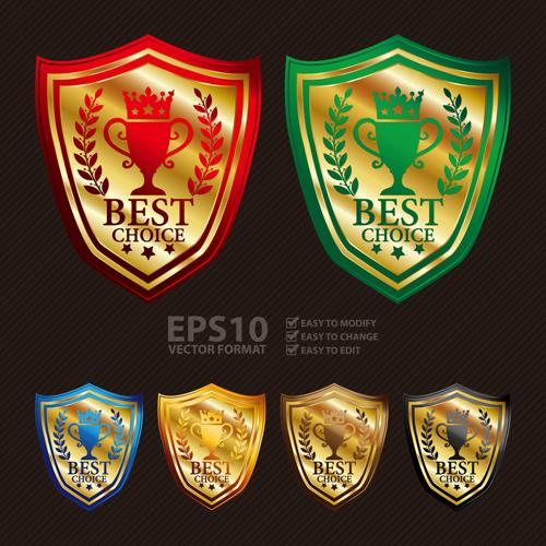 Medals shield laurel wreath vector labels vector 01