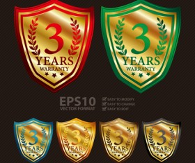 Medals shield laurel wreath vector labels vector 02