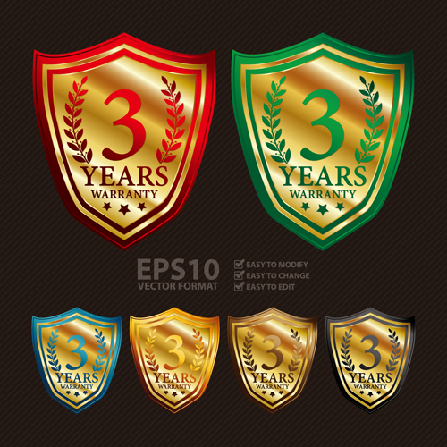 Medals shield laurel wreath vector labels vector 02
