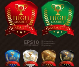 Medals shield laurel wreath vector labels vector 03