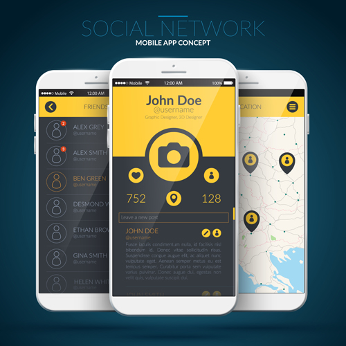 Mobile Social App Interface Design Vector 01 Free Download